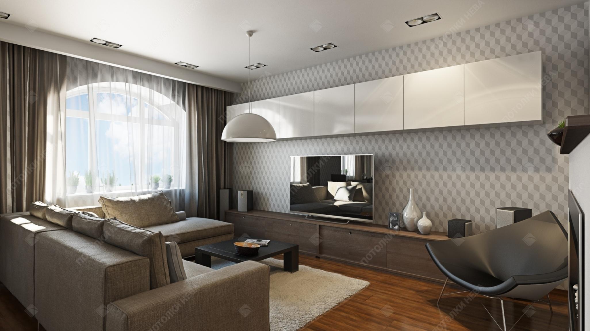 Гостиная с белым матовым потолком