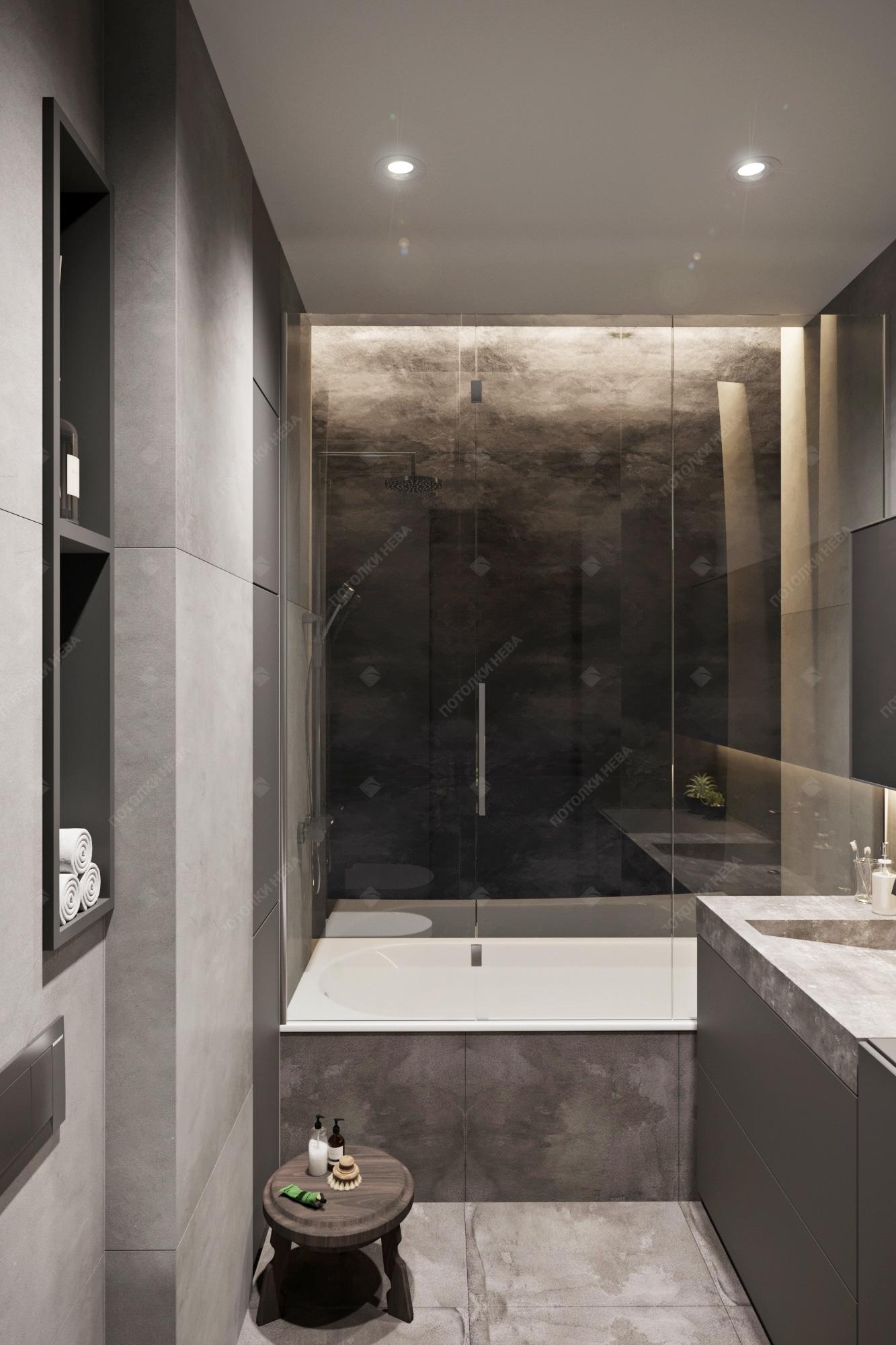 Глянцевый потолок со светодиодами в ванной