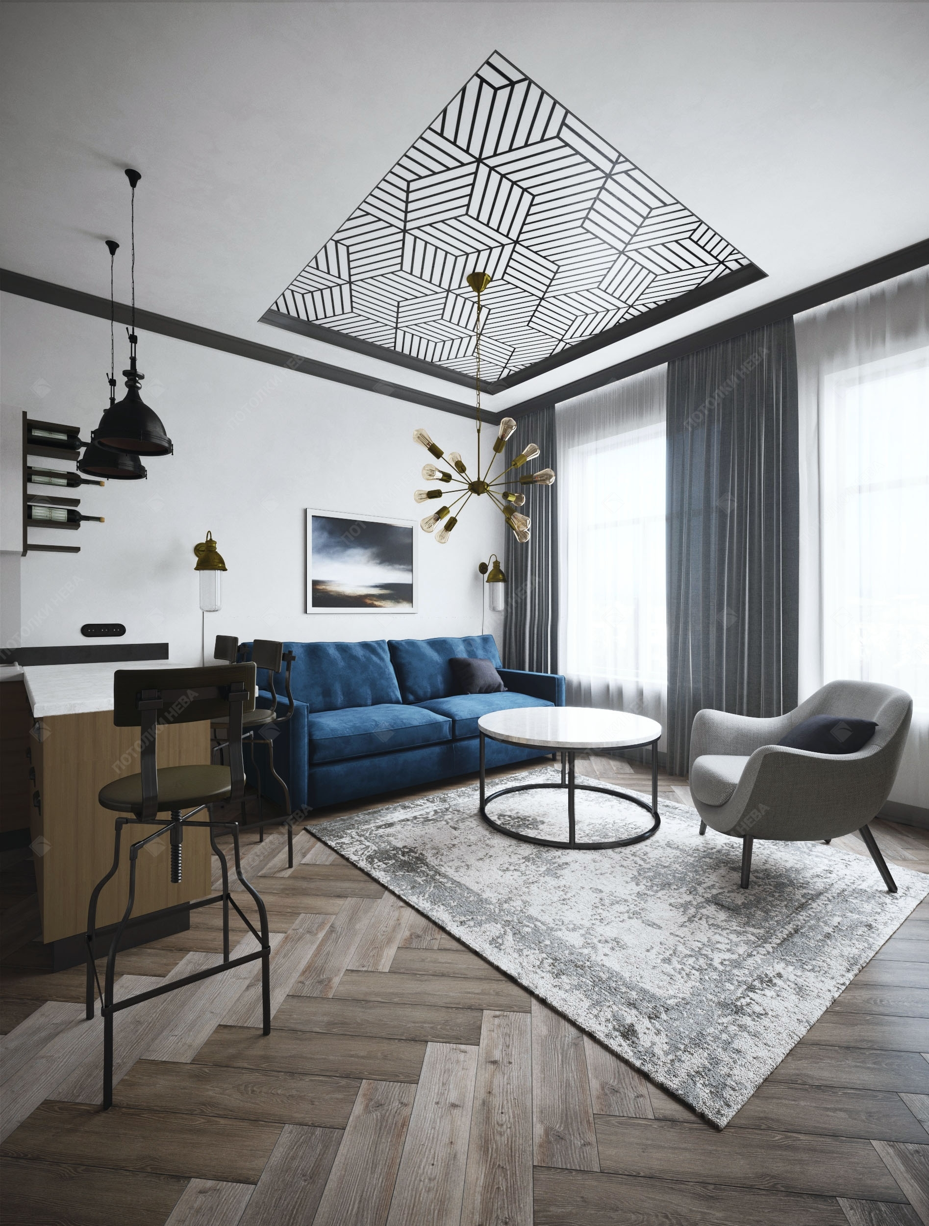 Потолок с геометрической фотопечатью