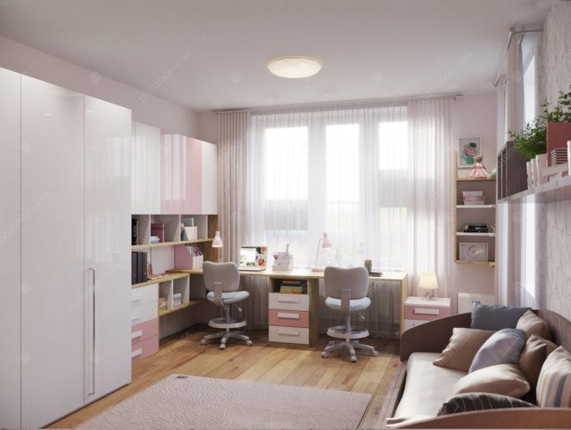 белый матовый натяжной потолок в детской