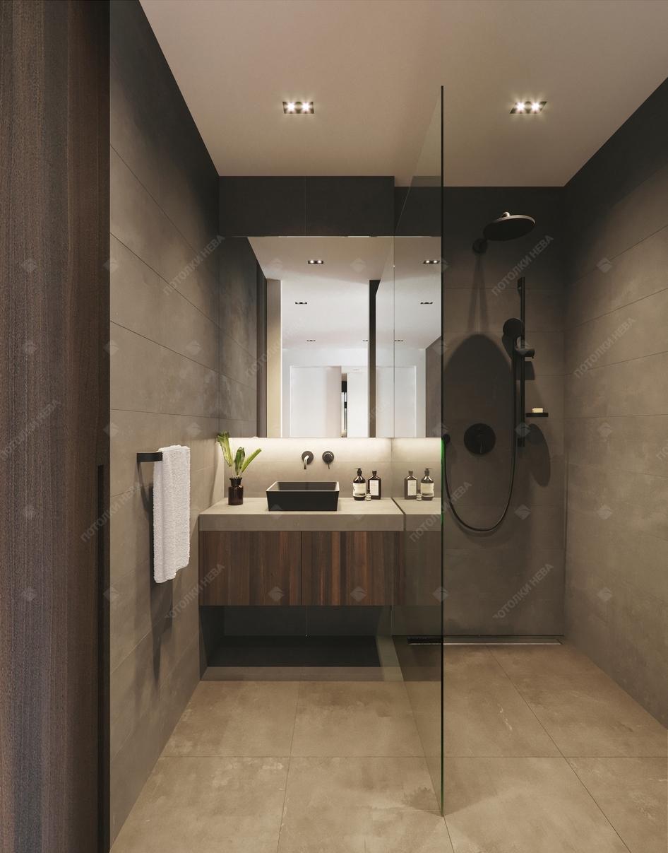 Матовый потолок в ванной