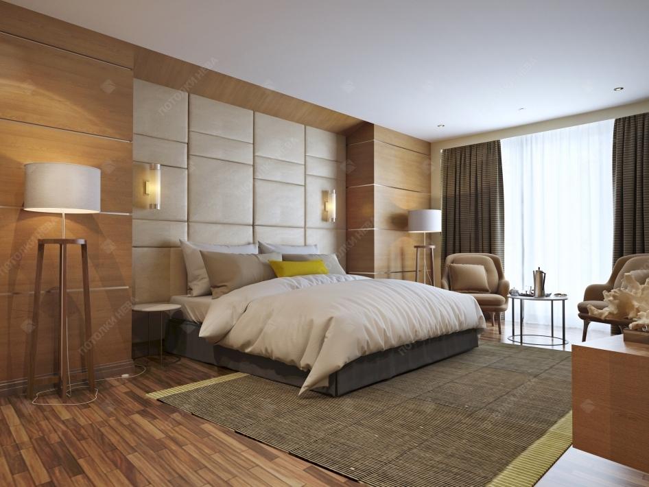 Спальня с белым тканевым потолком