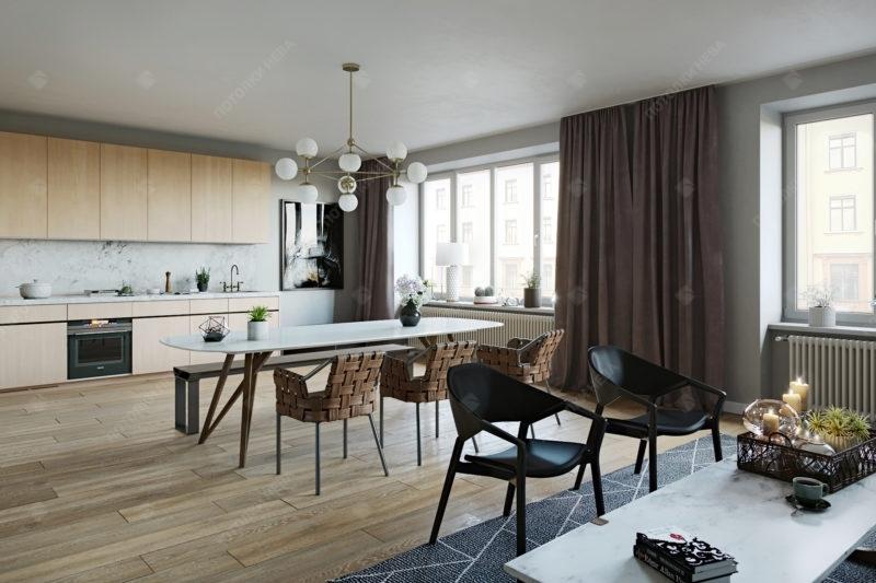 Белый матовый потолок в кухне-гостиной