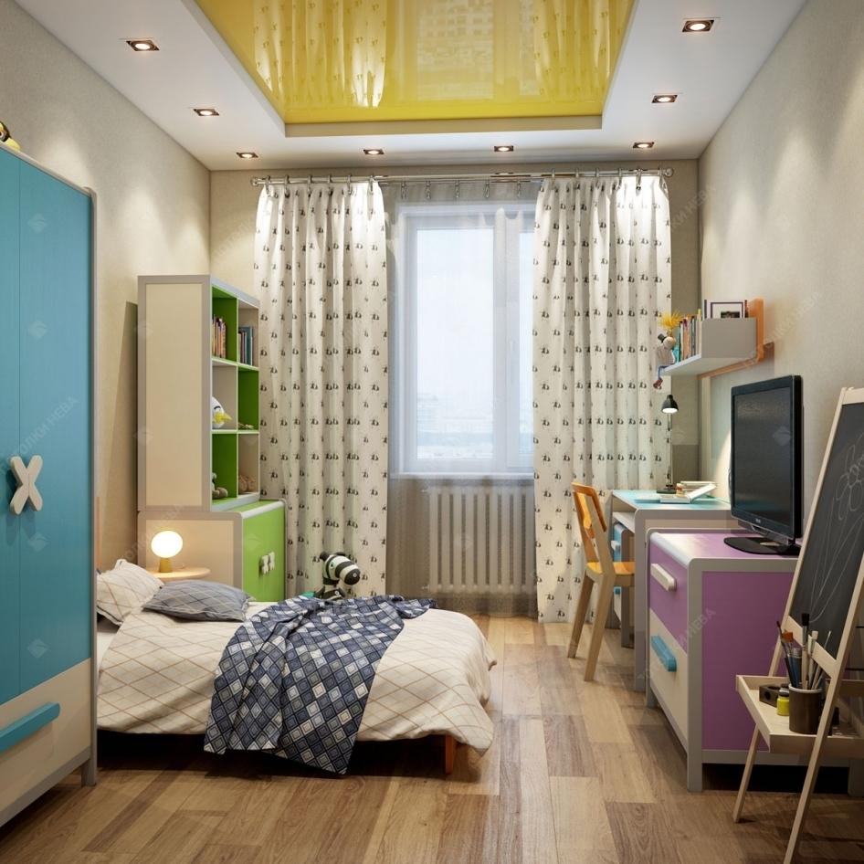 Глянцевый желтый потолок в детской