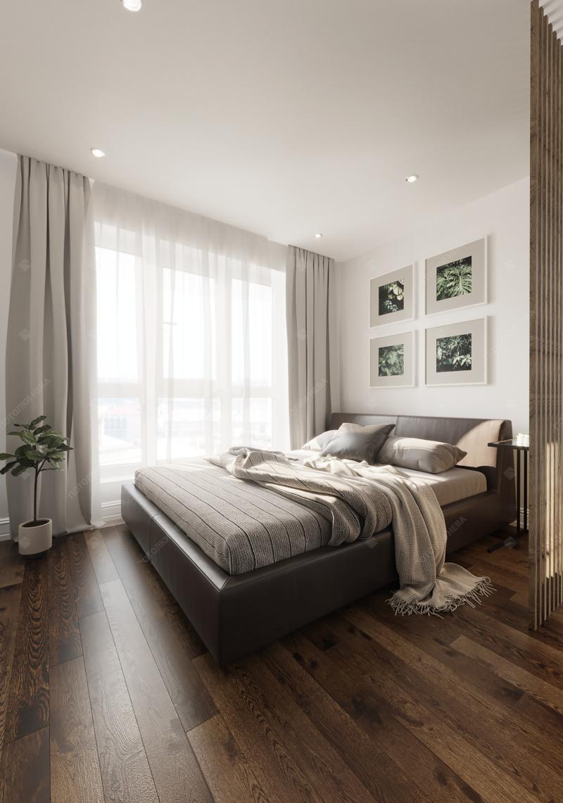 Спальня с белым матовым натяжным потолком