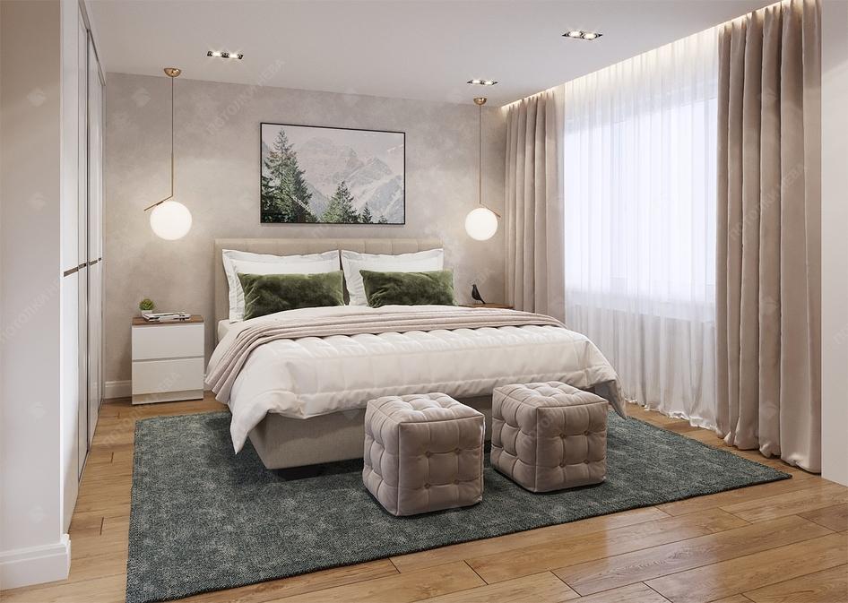 Белый светодиодный потолок в спальне