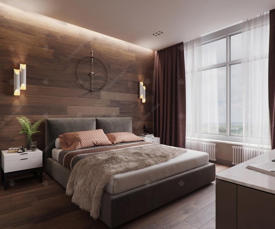Натяжной сатиновый потолок в спальне