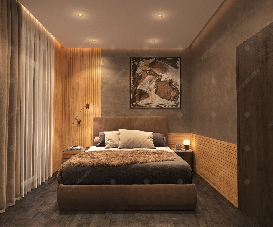 Натяжной светодиодный потолок в спальне