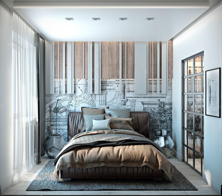 Белый двухуровневый потолок для спальни