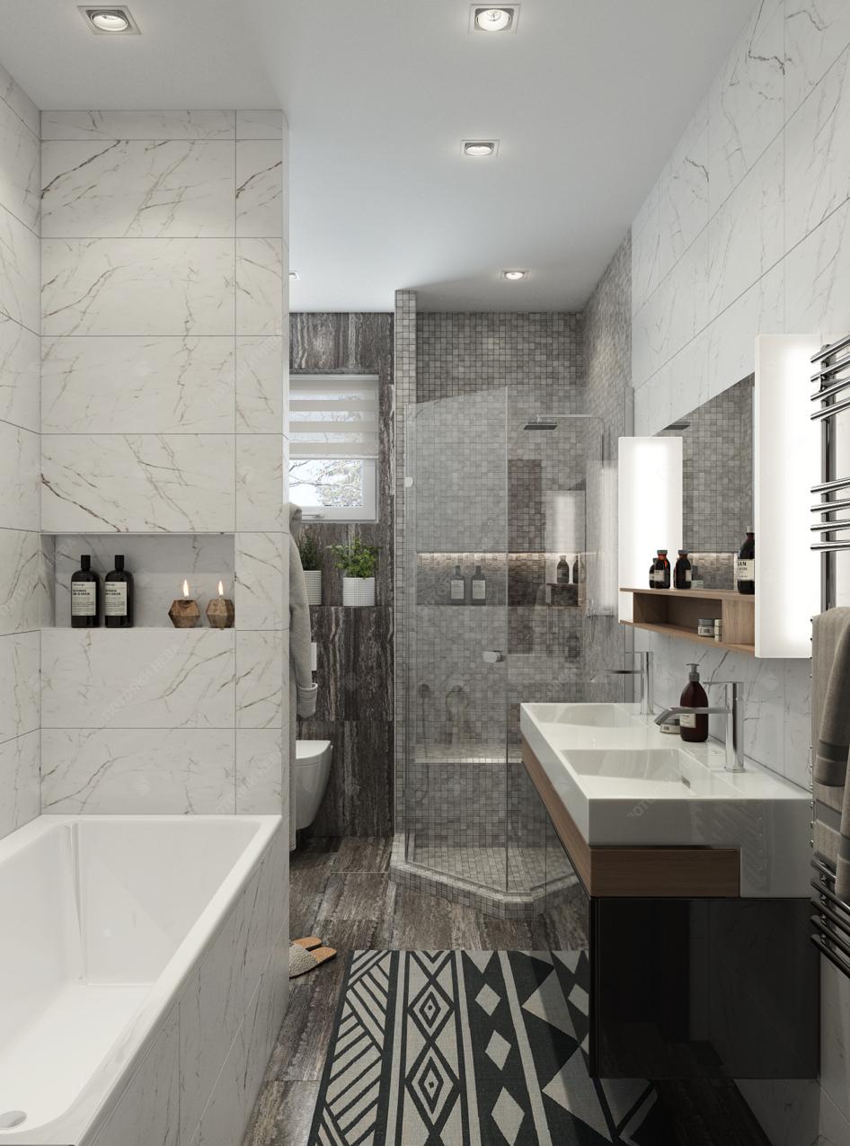 Ванная с белым матовым потолком