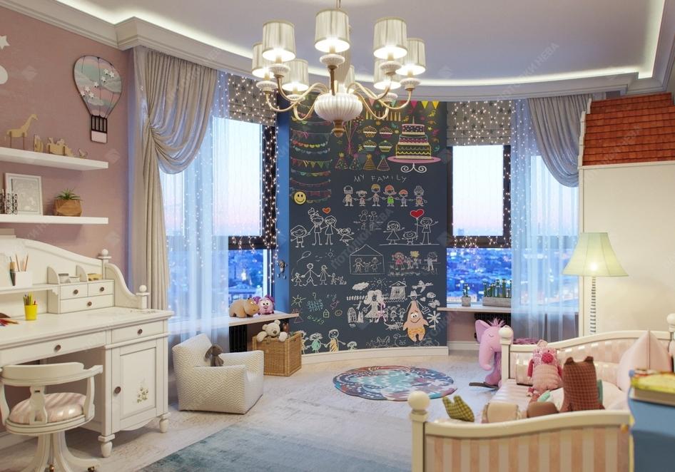 Сатиновый потолок с подсветкой в детской