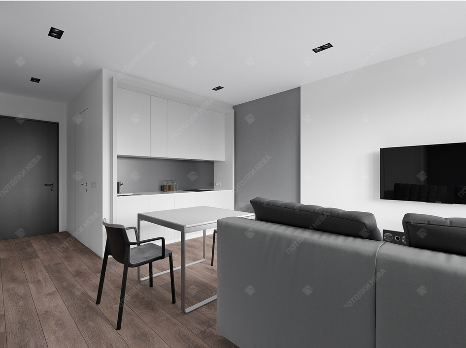 Белый тканевый потолок в кухне-гостиной