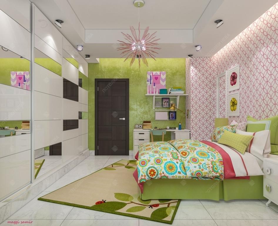 Белый двухуровневый потолок в детской