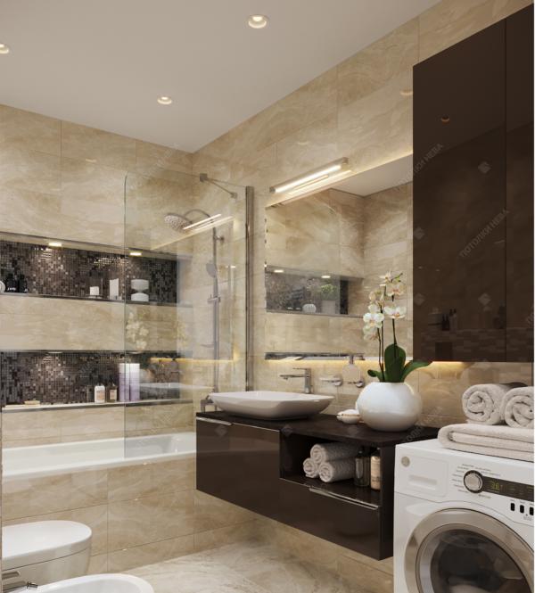 Белый матовый потолок для ванной