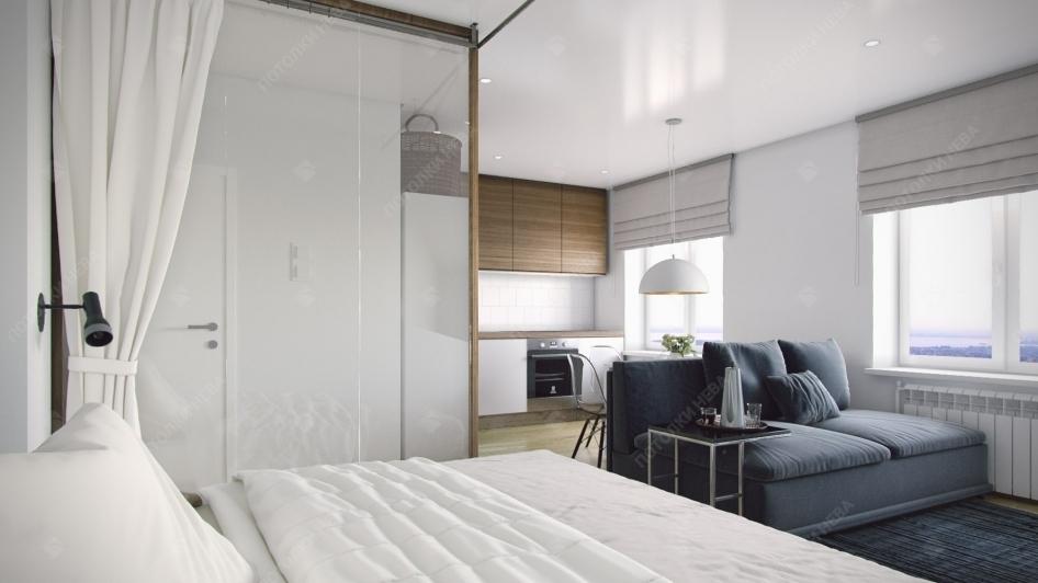 Спальня-гостиная с сатиновым потолком
