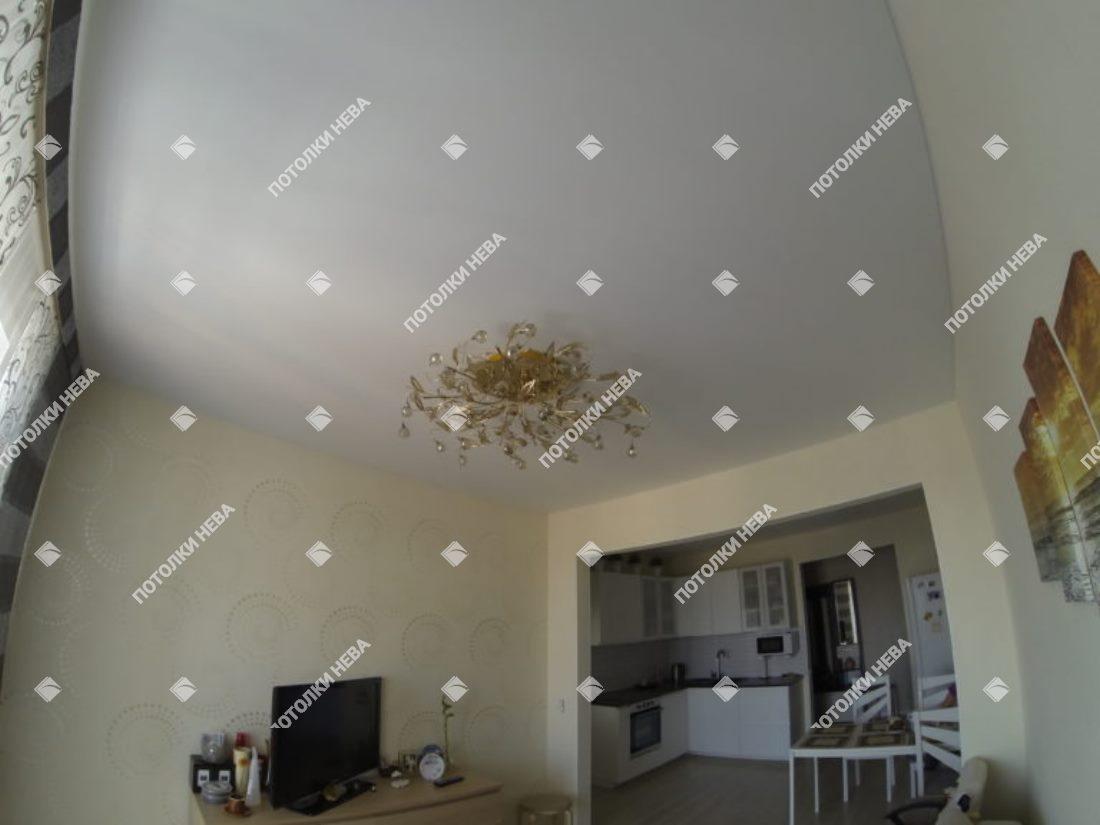 Белый матовый потолок в гостиной