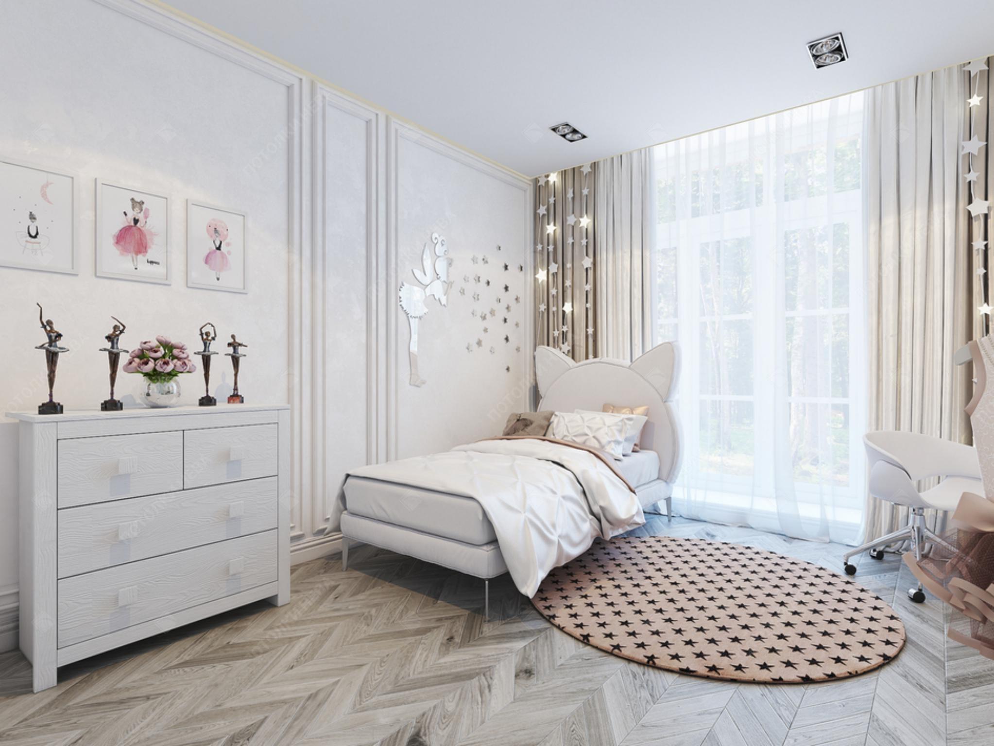 Белый матовый потолок в детской