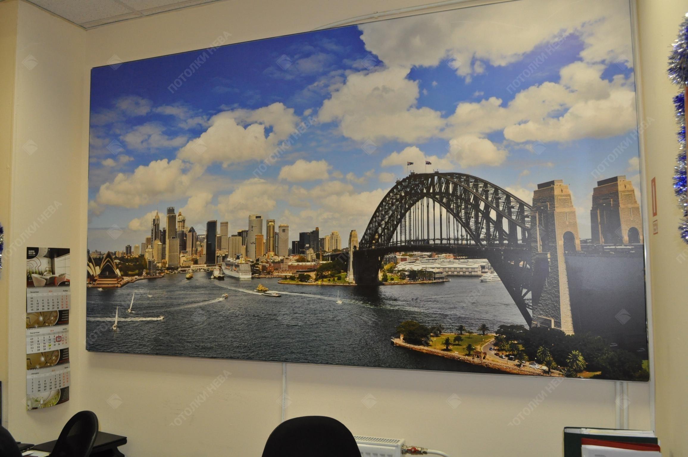 Фотопечать на натяжных стенах в офисе