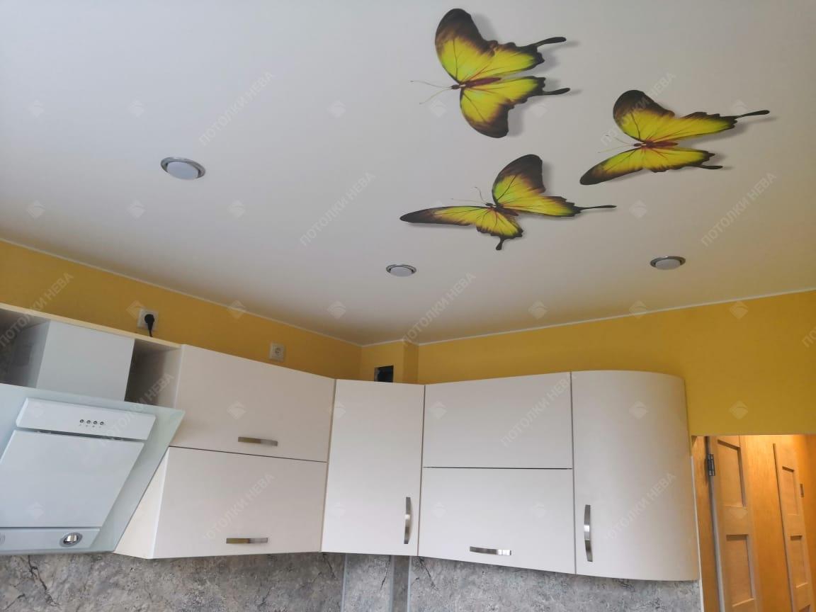 Потолок с фотопечатью на кухне